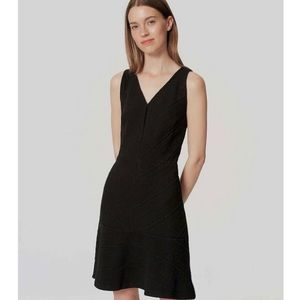 LOFT Chevron Flounce Little Black Dress 4